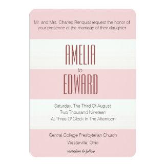 Modern Pink Stripe and Circles Wedding Invite