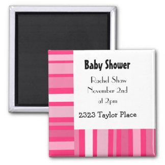 Modern Pink Stripe Baby Shower Magnet