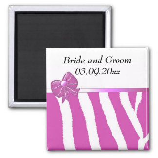 Modern Pink Stripe Save the Date Magnet