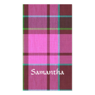 Modern pink tartan personalized business cards