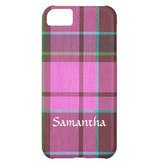 Modern pink tartan personalized iPhone 5C cases