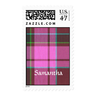 Modern pink tartan personalized postage