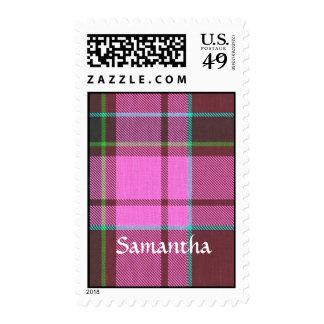 Modern pink tartan personalized stamps