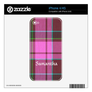 Modern pink tartan personalized skins for iPhone 4