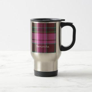 Modern pink tartan personalized travel mug