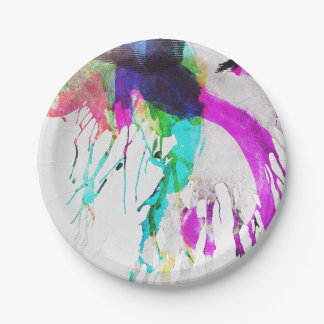 Modern pink teal black watercolor splatters paper plate