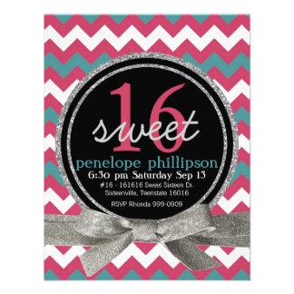 Modern Pink Teal Chevron Girly Sweet 16 Invitations