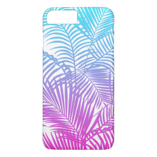 Modern pink teal tropical palm trees pattern iPhone 7 plus case