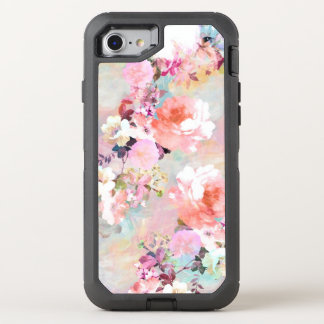 Modern pink teal watercolor chic floral pattern OtterBox defender iPhone 7 case