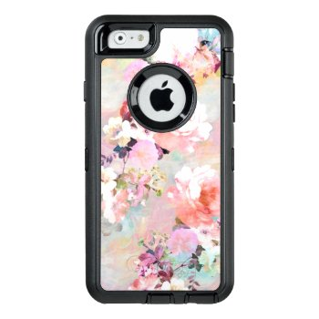 Modern Pink Teal Watercolor Chic Floral Pattern Otterbox Defender Iphone Case by girly_trend at Zazzle