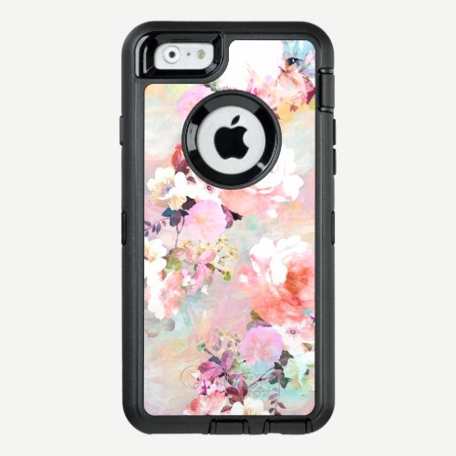 Modern pink teal watercolor chic floral pattern OtterBox defender iPhone case