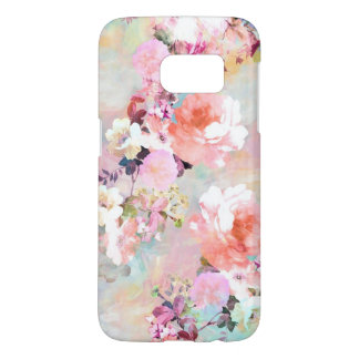 Modern pink teal watercolor chic floral pattern samsung galaxy s7 case