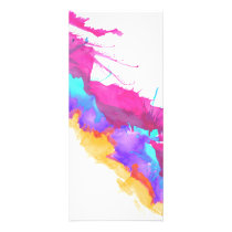 Modern pink teal watercolor paint splatter pattern rack card