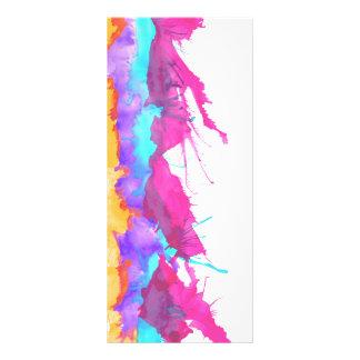 Modern pink teal watercolor paint splatter pattern rack card