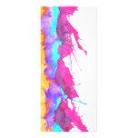 Modern pink teal watercolor paint splatter pattern rack card design