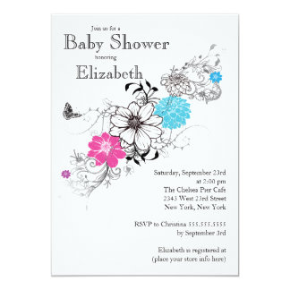 Modern Pink & turquoise Baby Shower 5x7 Paper Invitation Card