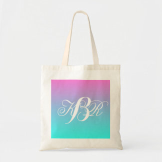 modern pink turquoise ombre wedding bridesmaid tote bag