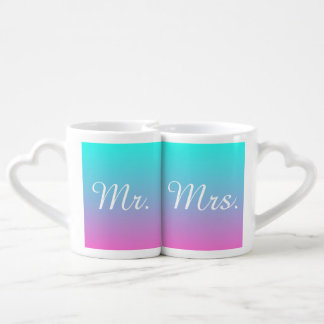 modern pink turquoise ombre wedding mr and mrs coffee mug set