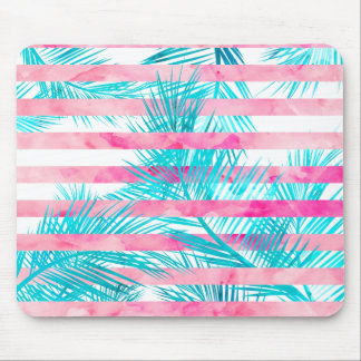 Modern pink turquoise palm tree watercolor stripes mouse pad