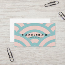 Modern Pink & Turquoise Wave Pattern Business Card