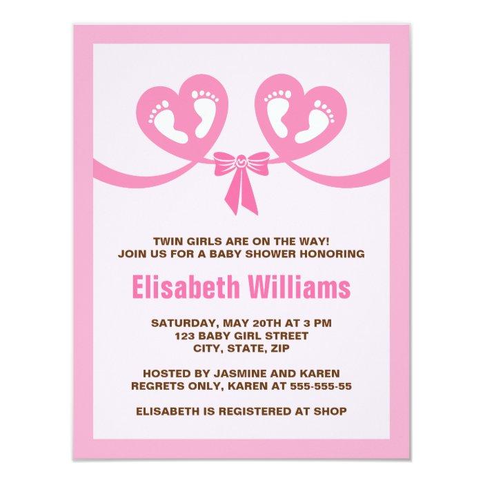 modern pink twin girls baby shower invitation zazzle