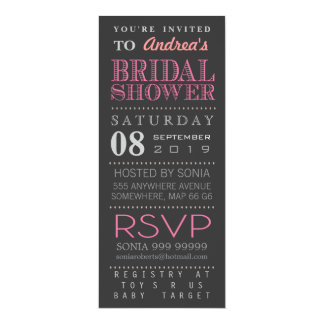 "Modern Pink Typography Bridal Wedding Shower Long 4"" X 9.25"" Invitation Card"