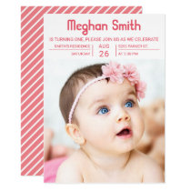 Modern Pink Typography First Birthday Invitation