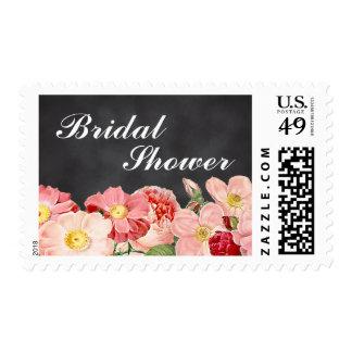 Modern Pink Vintage Roses Chalkboard Bridal Shower Postage Stamp
