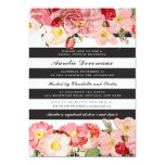 """Modern Pink Vintage Roses Stripes Bridal Shower 5"""" X 7"""" Invitation Card"""