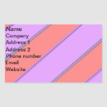 Modern pink violet diagonal stripes rectangular sticker