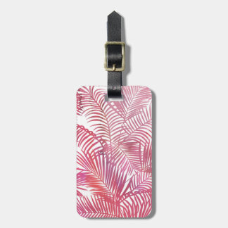 Modern pink watercolor tropical palm tree floral luggage tag