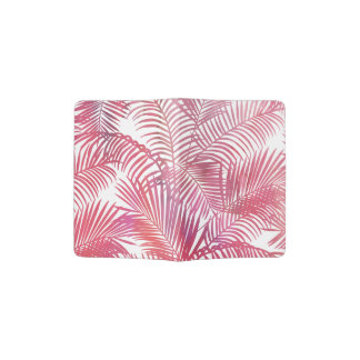 Modern pink watercolor tropical palm tree floral passport holder
