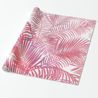 Modern pink  watercolor tropical palm tree leaves wrapping paper