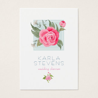 Modern Pink Watercolors Rose On White & Sage Business Card