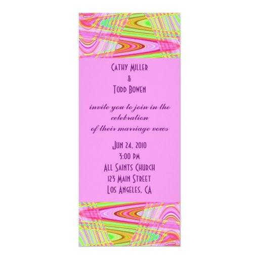 modern pink  wedding 4x9.25 paper invitation card