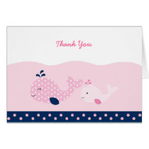 Modern Pink Whale Thank You Cards
