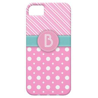 Modern pink, white, aqua polka dot & stripes iPhone 5 covers