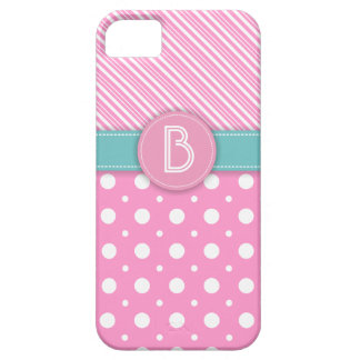 Modern pink, white, aqua polka dot & stripes iPhone SE/5/5s case