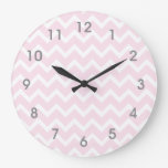 Modern Pink & White Chevron Clock - gray numbers