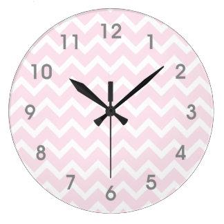 Modern Pink & White Chevron Clock - gray numbers