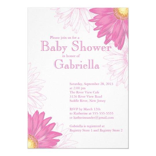 Modern Pink White Gerbera Daisy Baby Shower Invitation