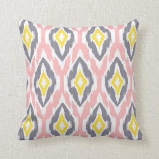 Modern pink white gray Ikat Tribal Pattern 1a Throw Pillow