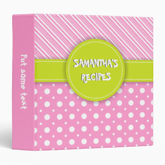 Modern pink, white, green polka dot & stripes vinyl binder