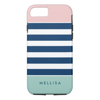 Modern Pink White Navy Mint Stripes iPhone 8/7 Case