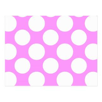 Modern Pink White Polka Dots Pattern Postcard