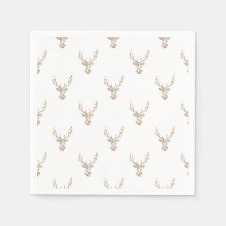 Modern Pink White Vintage  Floral Deer Head Paper Napkin