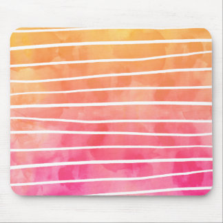 Modern pink yellow sunset watercolor ombre stripes mouse pad