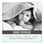 "Modern Pinstripes Baby Birth Announcements 5.25"" Square Invitation Card"