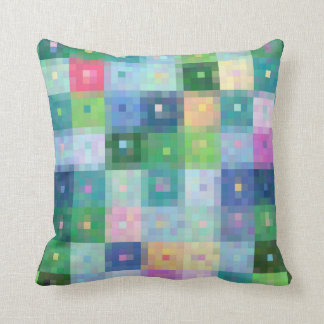 Modern pixel block colorful quilt patches throw pillow