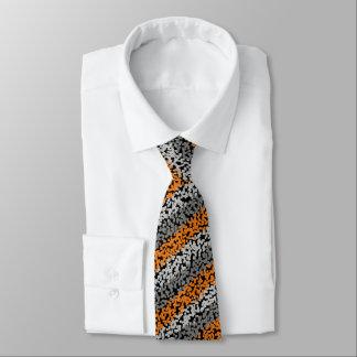 Modern pixelated orange grey black stripes pattern tie
